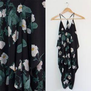 Nasty Gal Olivaceous Flowy Dress w/ White Flowers